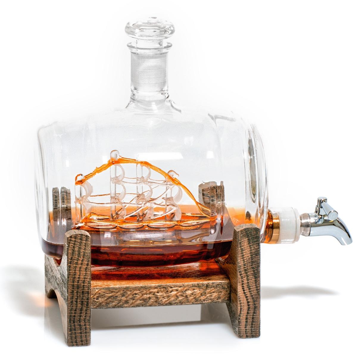 Barrel Shaped Liquor/Wine Decanter with a Ship Inside