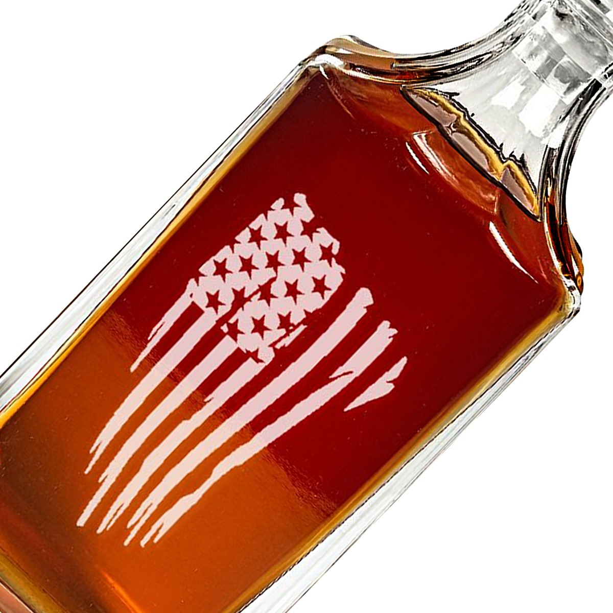 Closeup Engraved American Flag Decanter Set