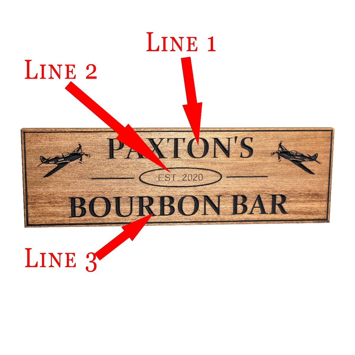 Custom Airplane wooden bar sign