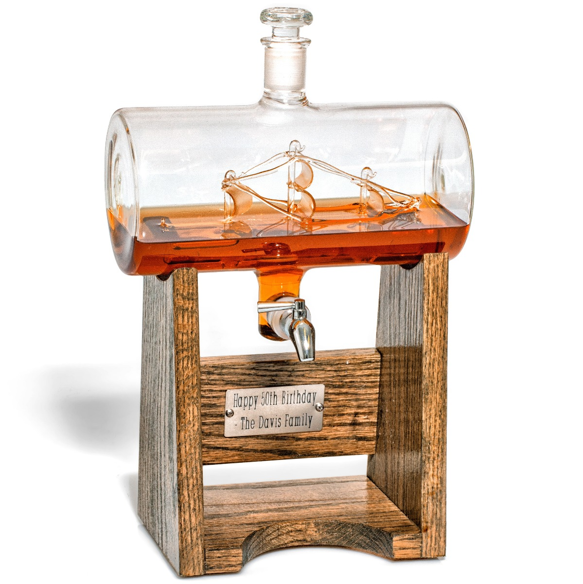 Constellation1797 Decanter, a customized whiskey decanter with glass ship