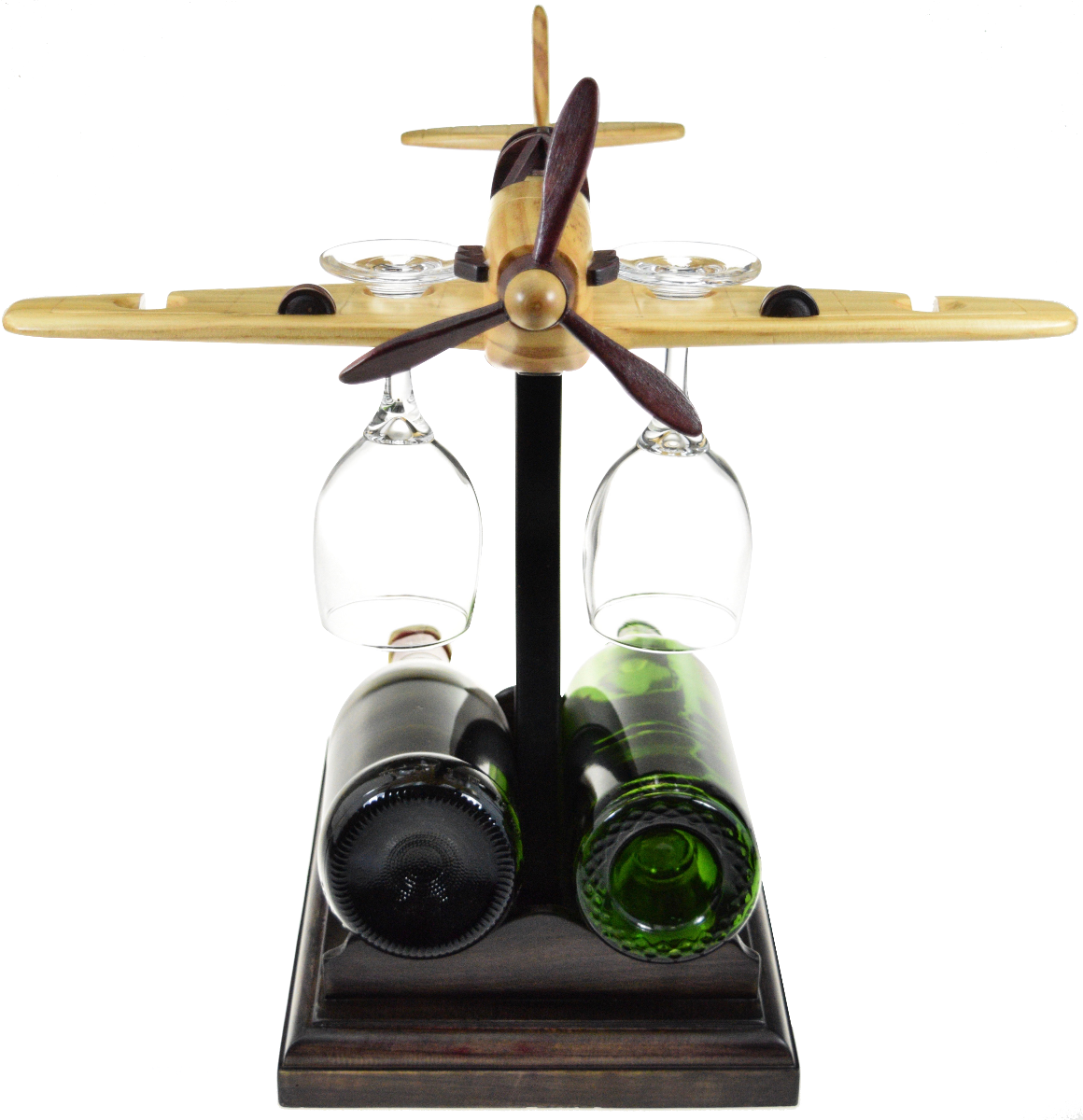 Airplane unique wine holder with glasses