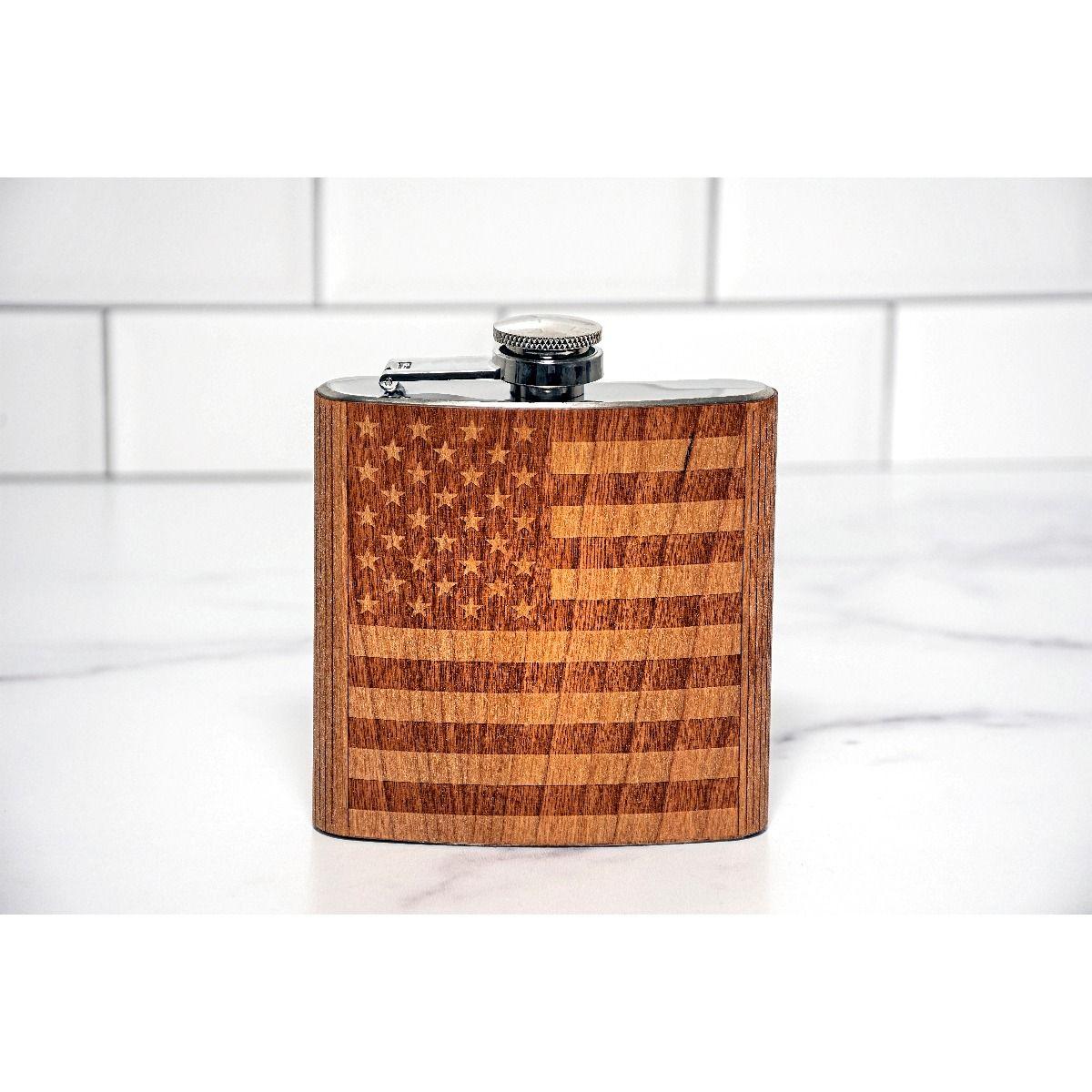 American Flag wood flask