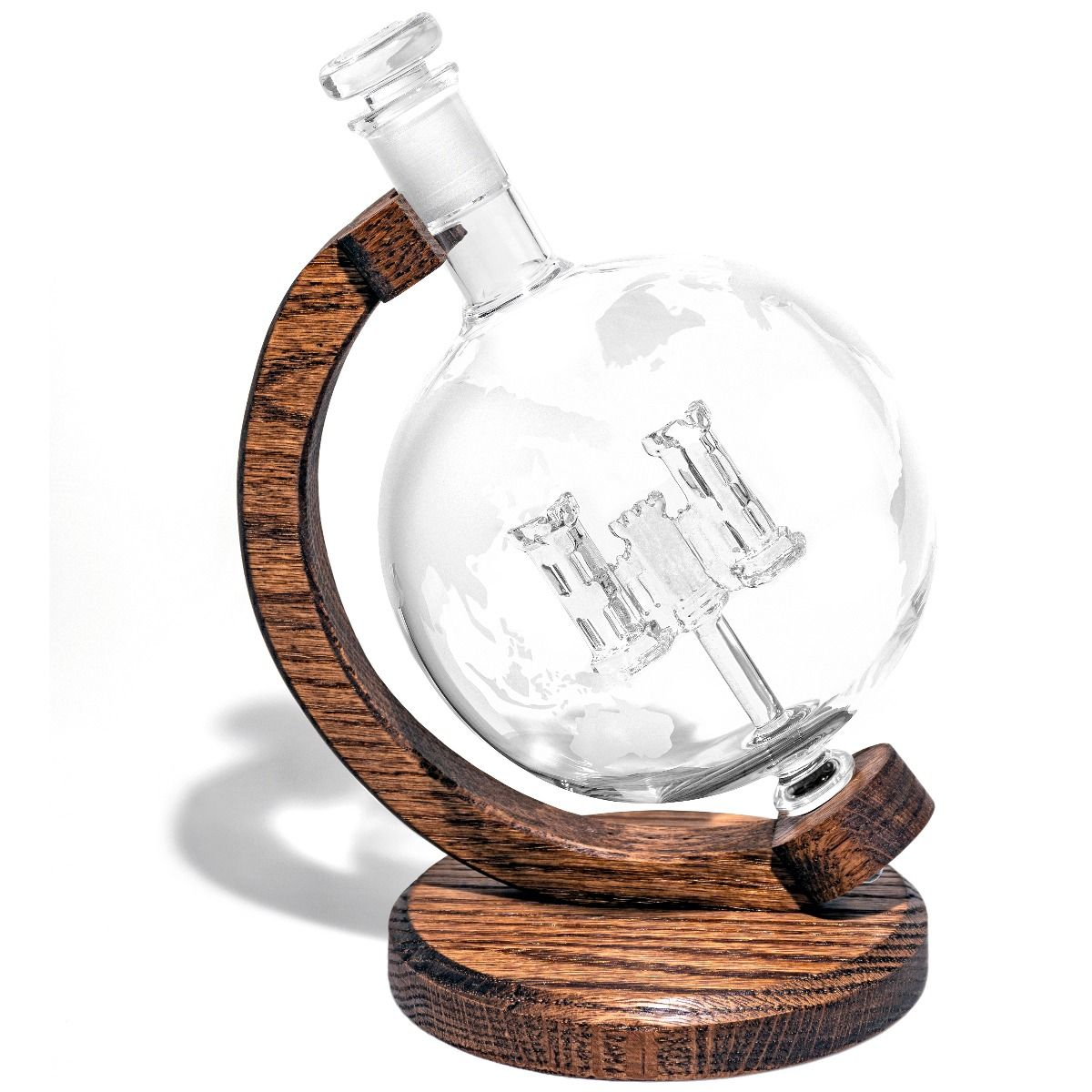 Army Corps of Engineers Castle Glass Decanter