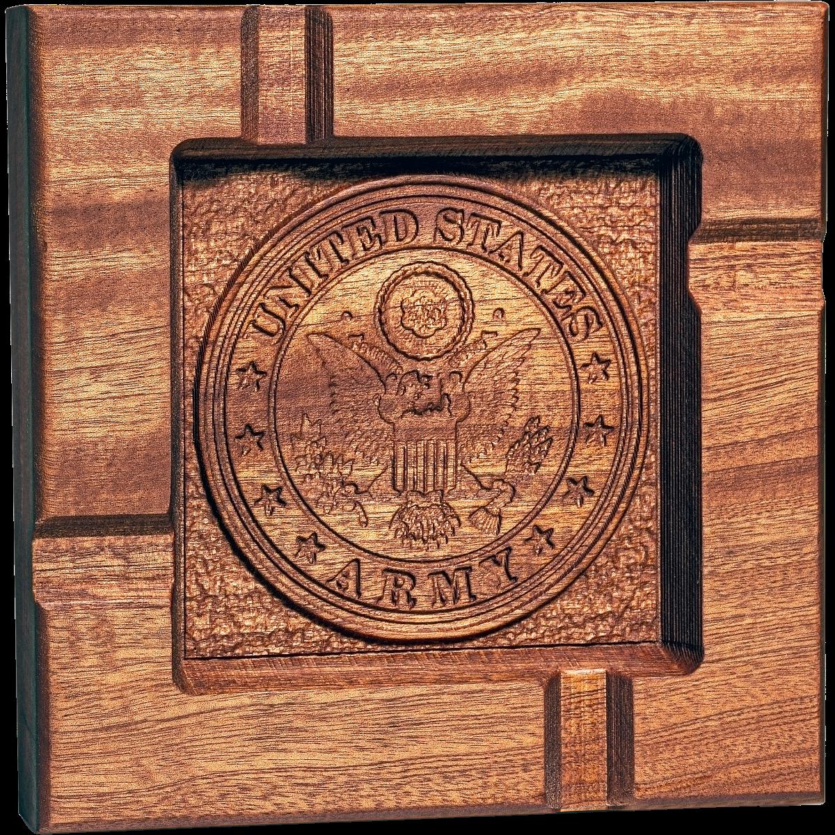 Army emblem cigar ashtray,