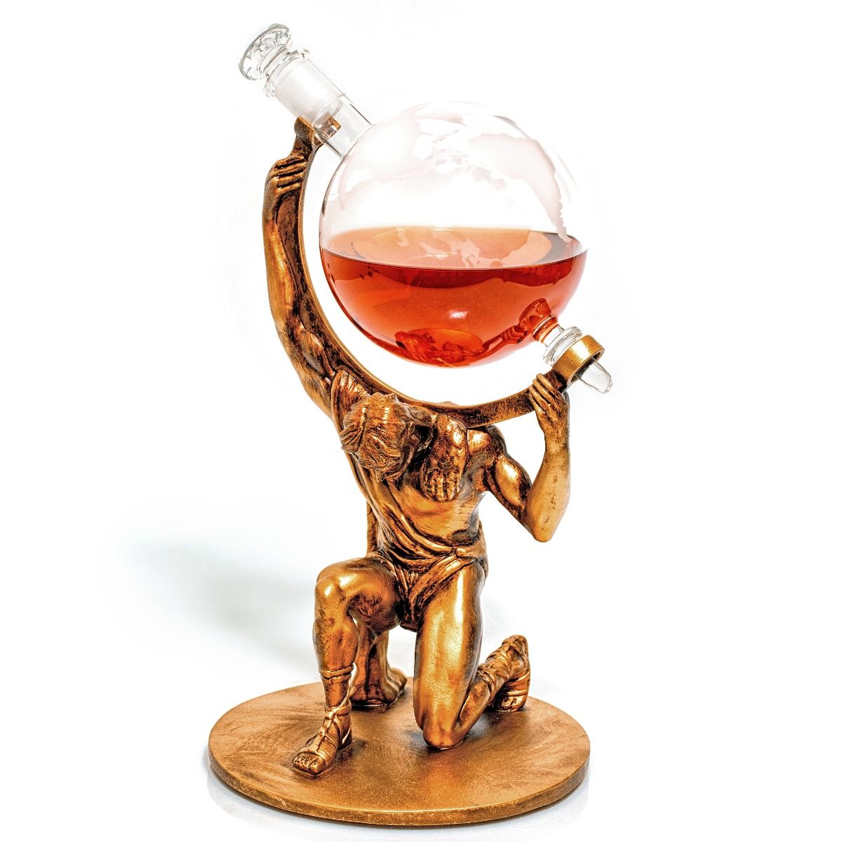 Atlas Decanter, a bearer of worldly spirits globe liquor decanter