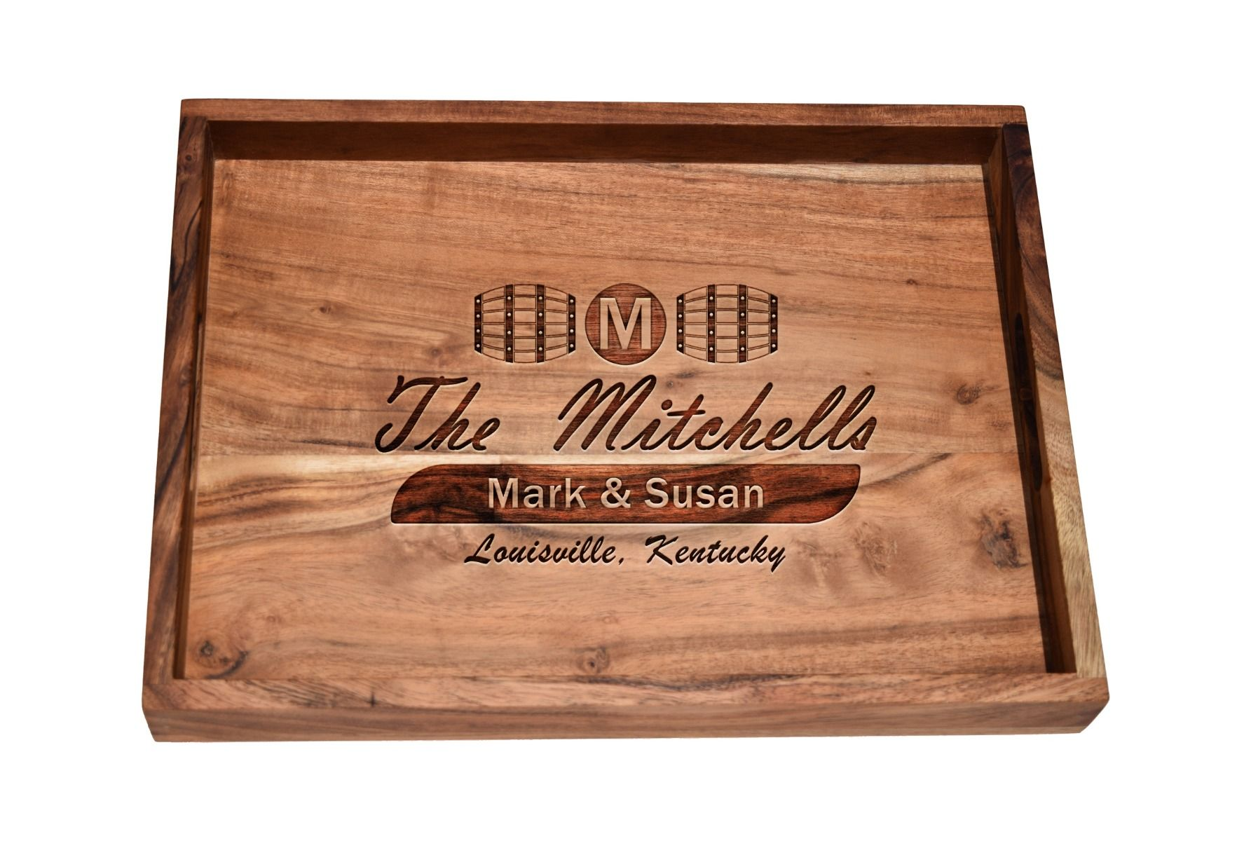 Barrel bar tray with Personalized design