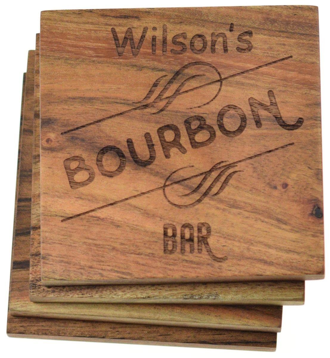 Bourbon bar customized drink coasters