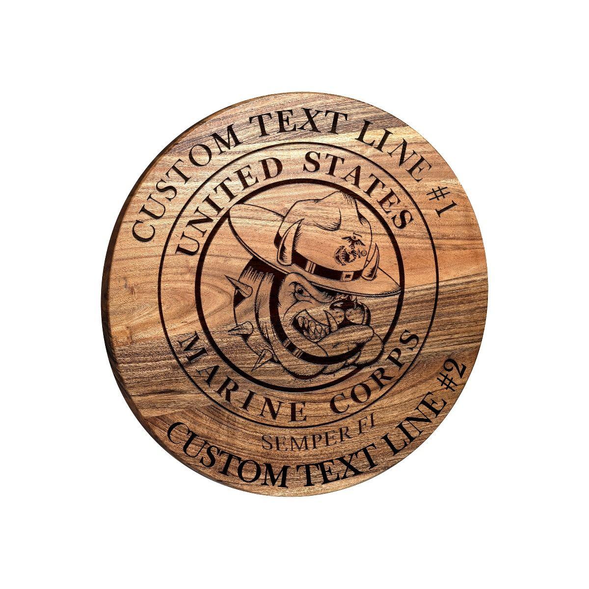 USMC Bulldog Round Bar Sign