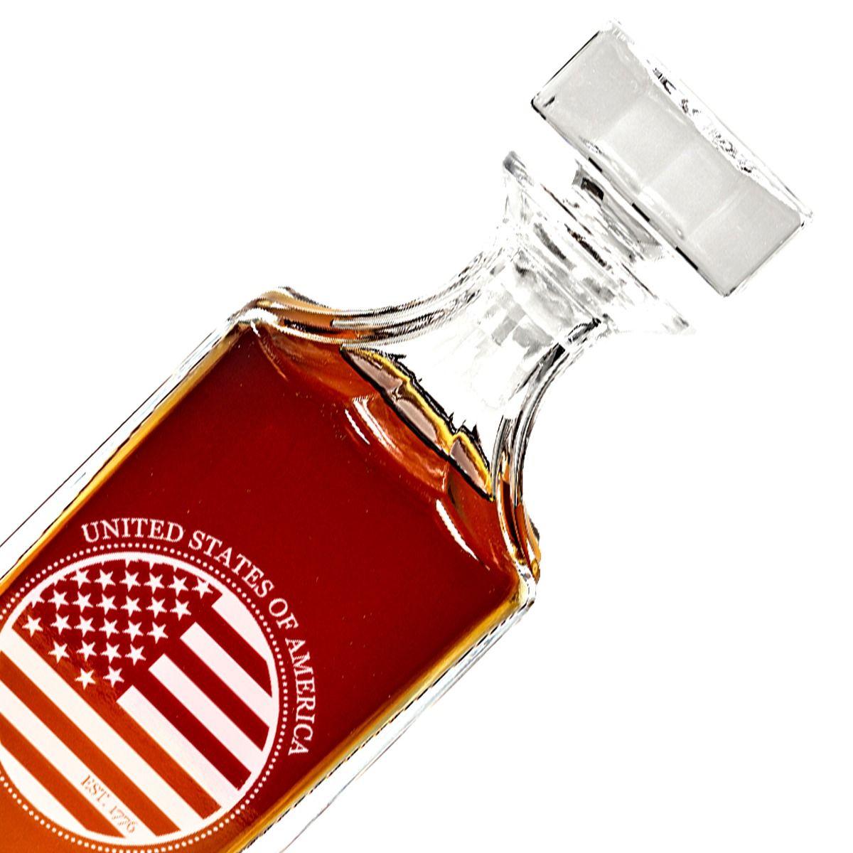 Closeup American Flag Design Engraved Decanter set