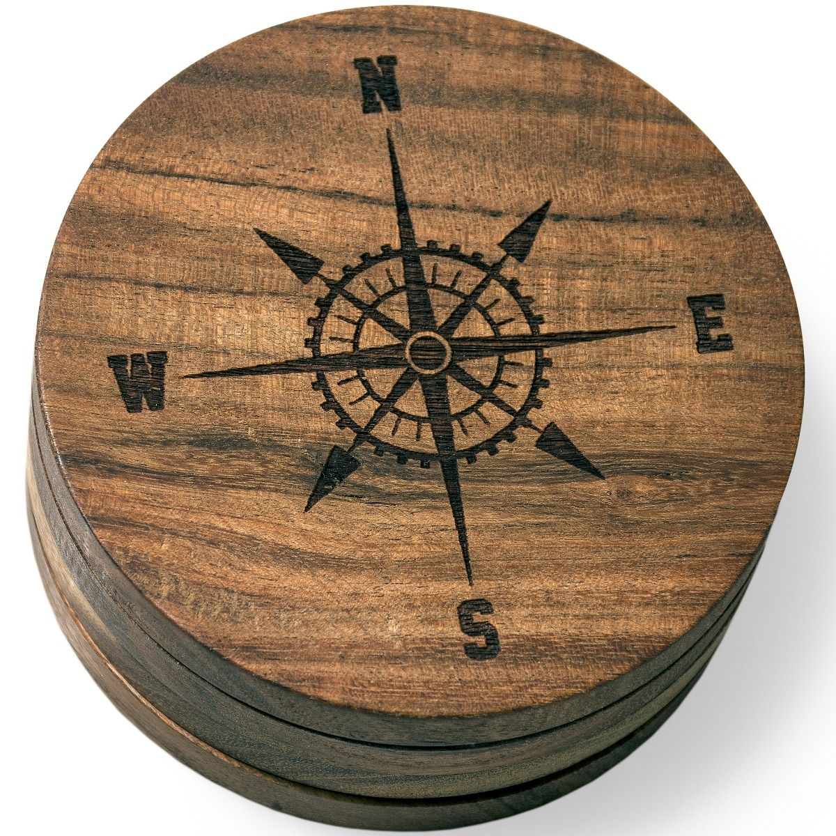 Nautical Coasters Set with Compass Rose Version 2 Engraved