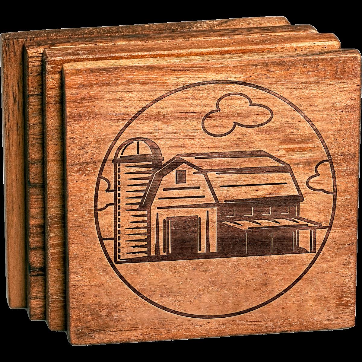 Farm Barn Acacia Wood Coaster Set