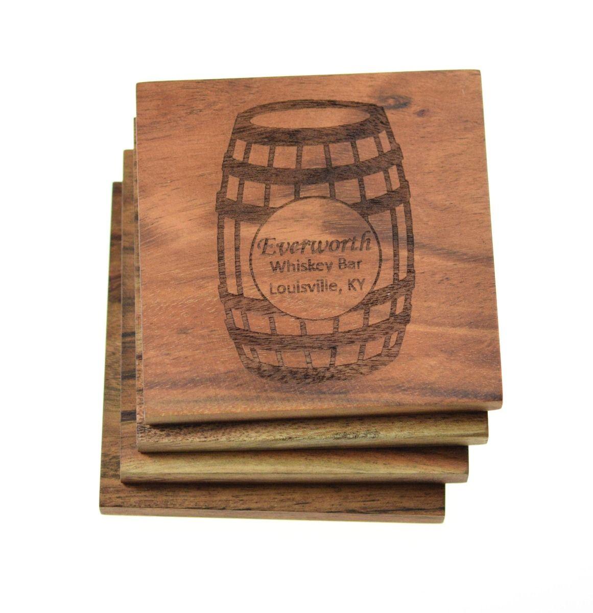 Custom Whiskey wine coasters with Barrel design