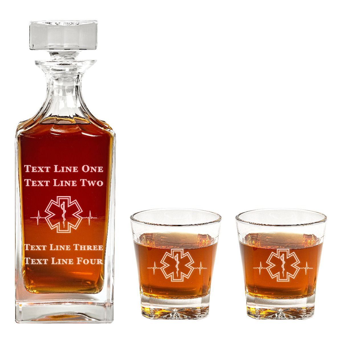 Square Engraved EMS Star of Life with Heart Beat Decanter Set