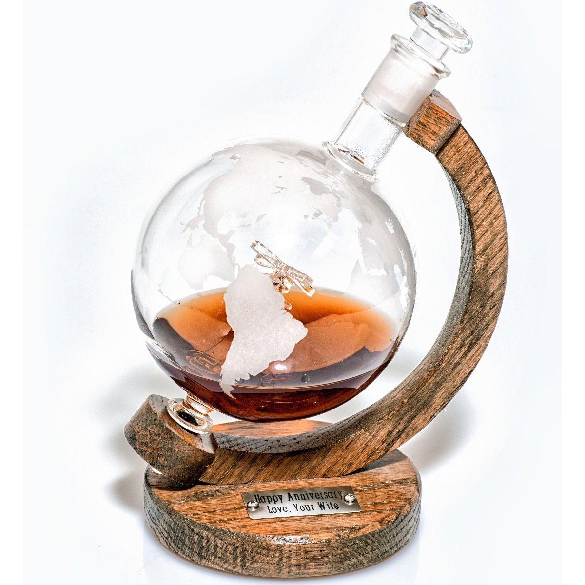 Engraved globe helicopter black hawk liquor decanter
