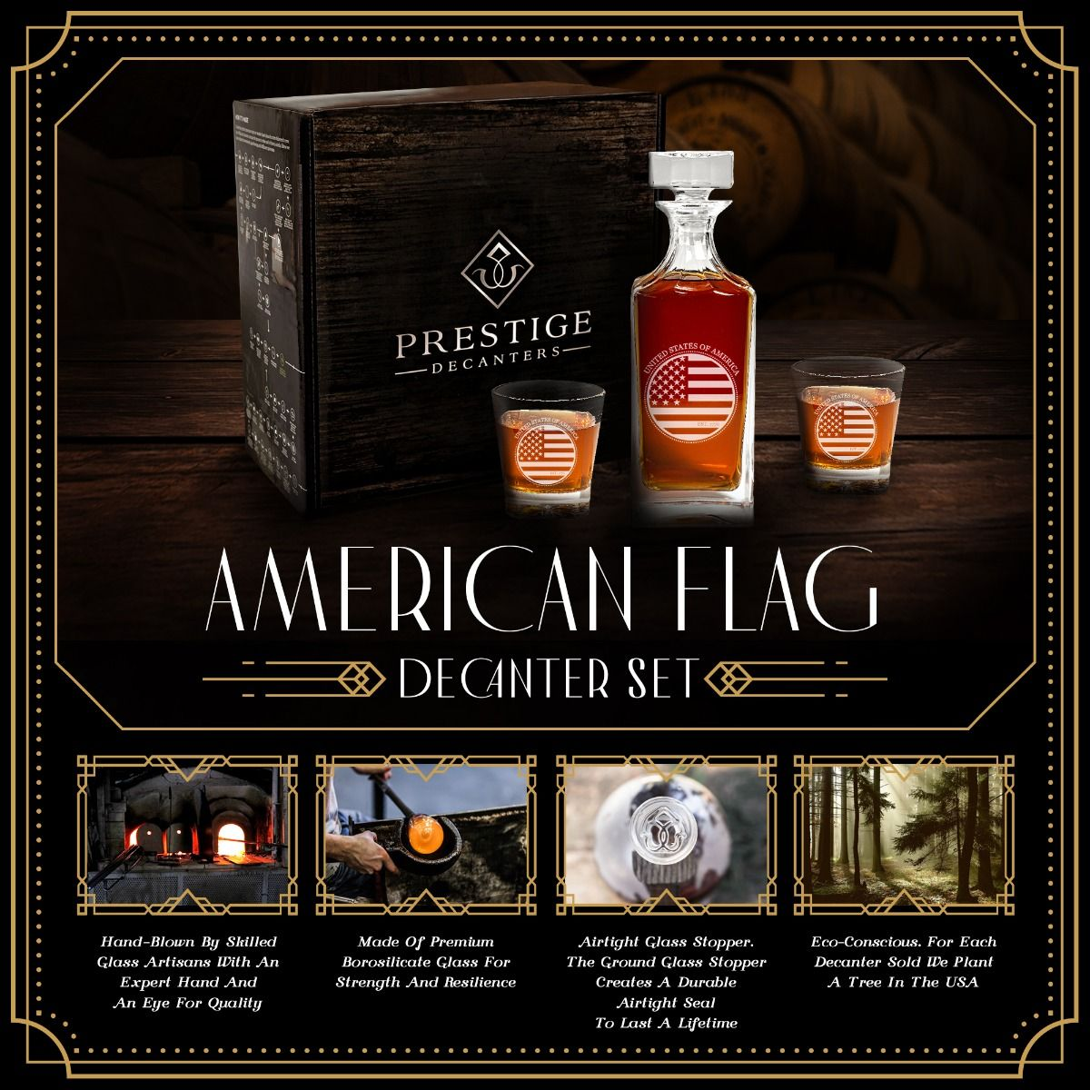 Features of American Flag Design Engraved Decanter set