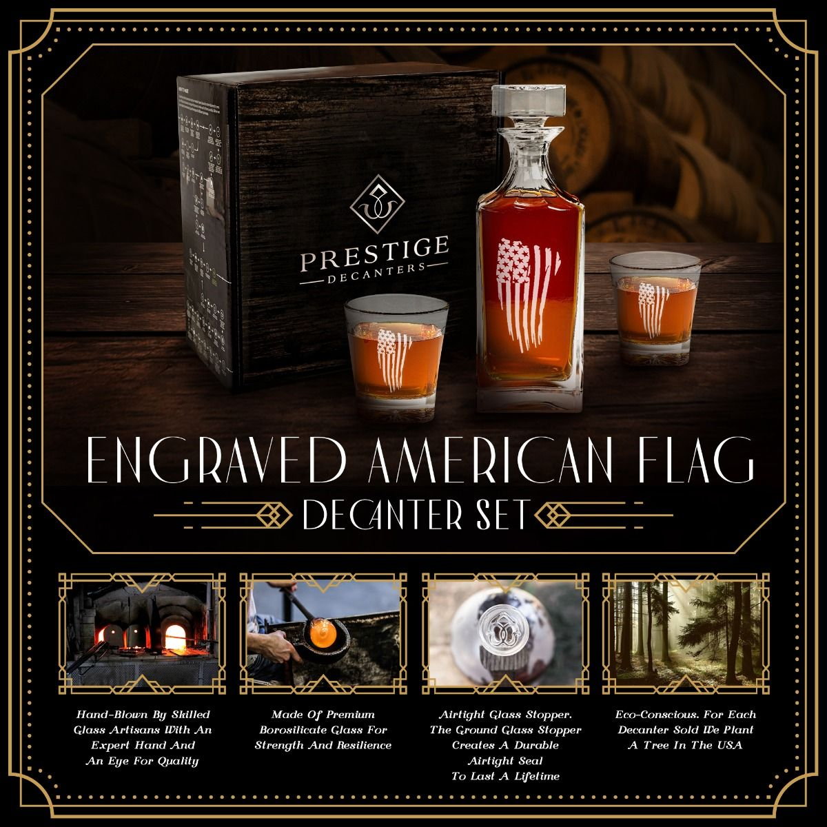 Features of Engraved American Flag Decanter Set