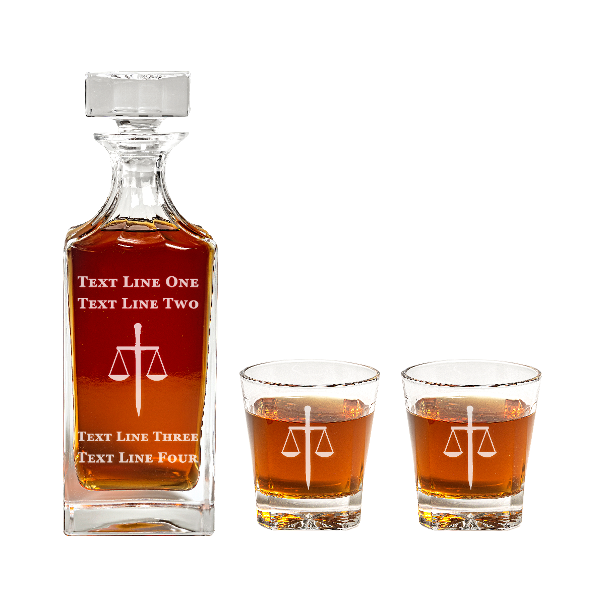 Square Engraved Lawyer Sword and Scales Glass Decanter Set