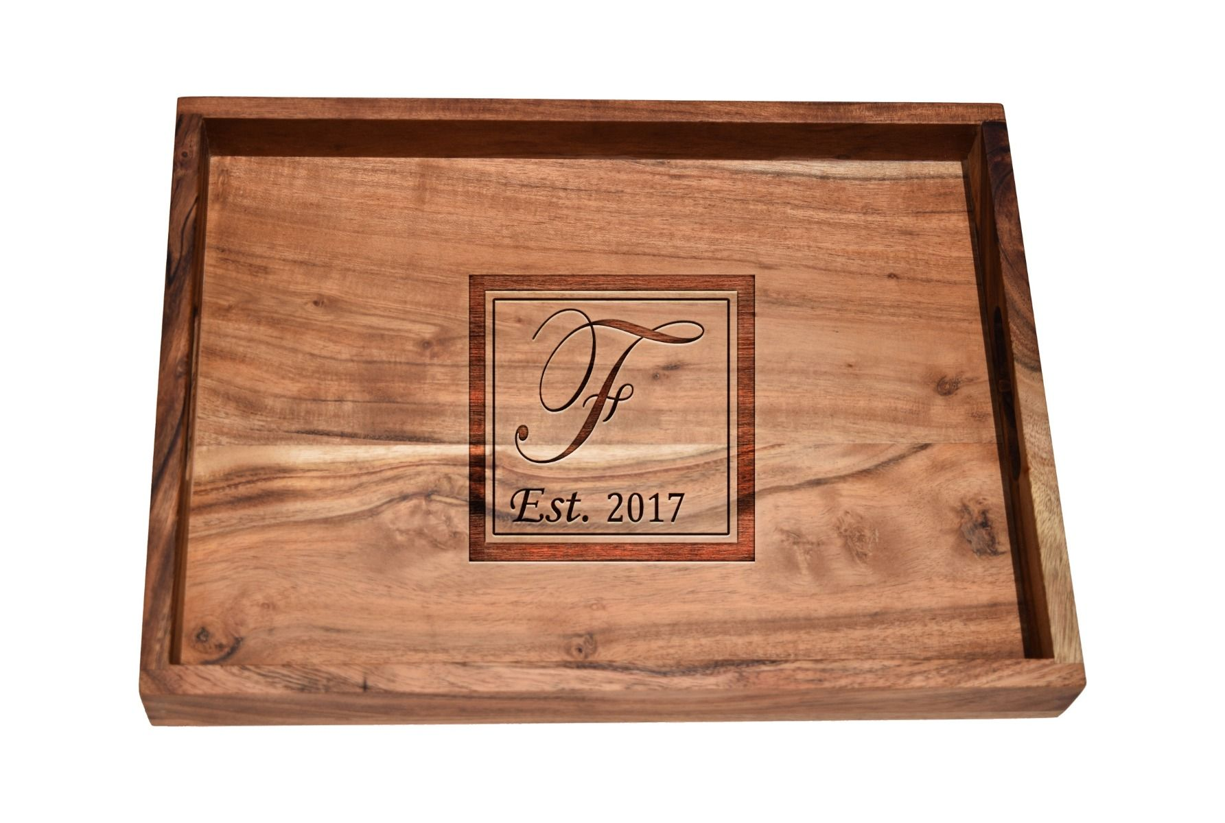 Home bar tray with monogram Initial design