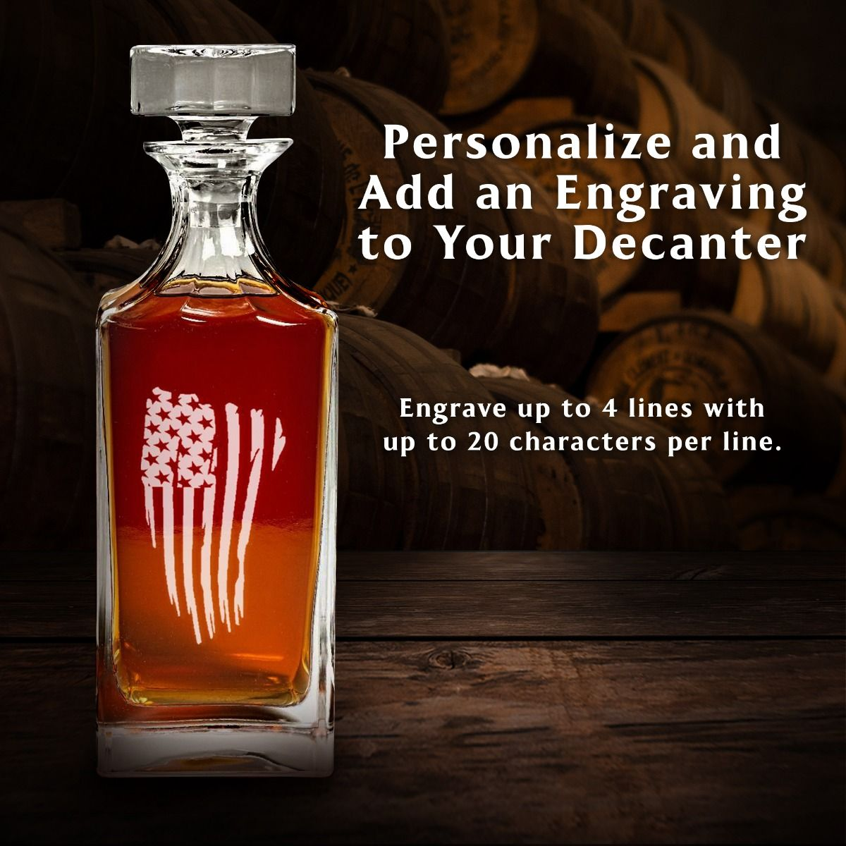 Personalize Engraved American Flag Decanter Set