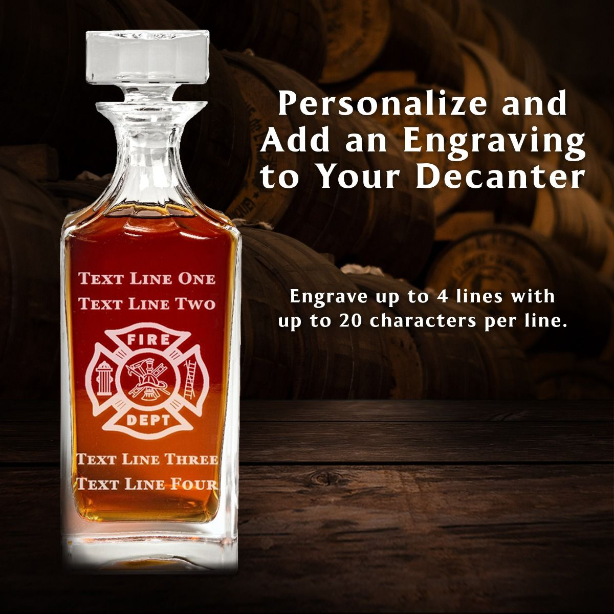 Personalize Engraved Firefighter Maltese Cross Decanter Set