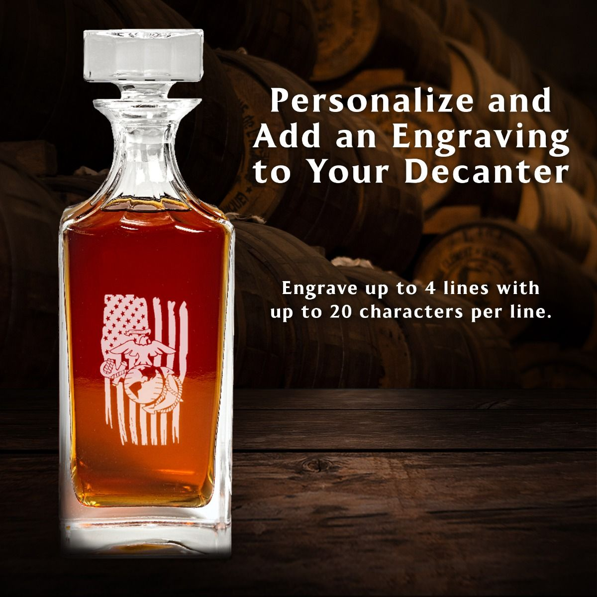 Personalize Square Engraved Coast Guard Freedom Ship Decanter Set