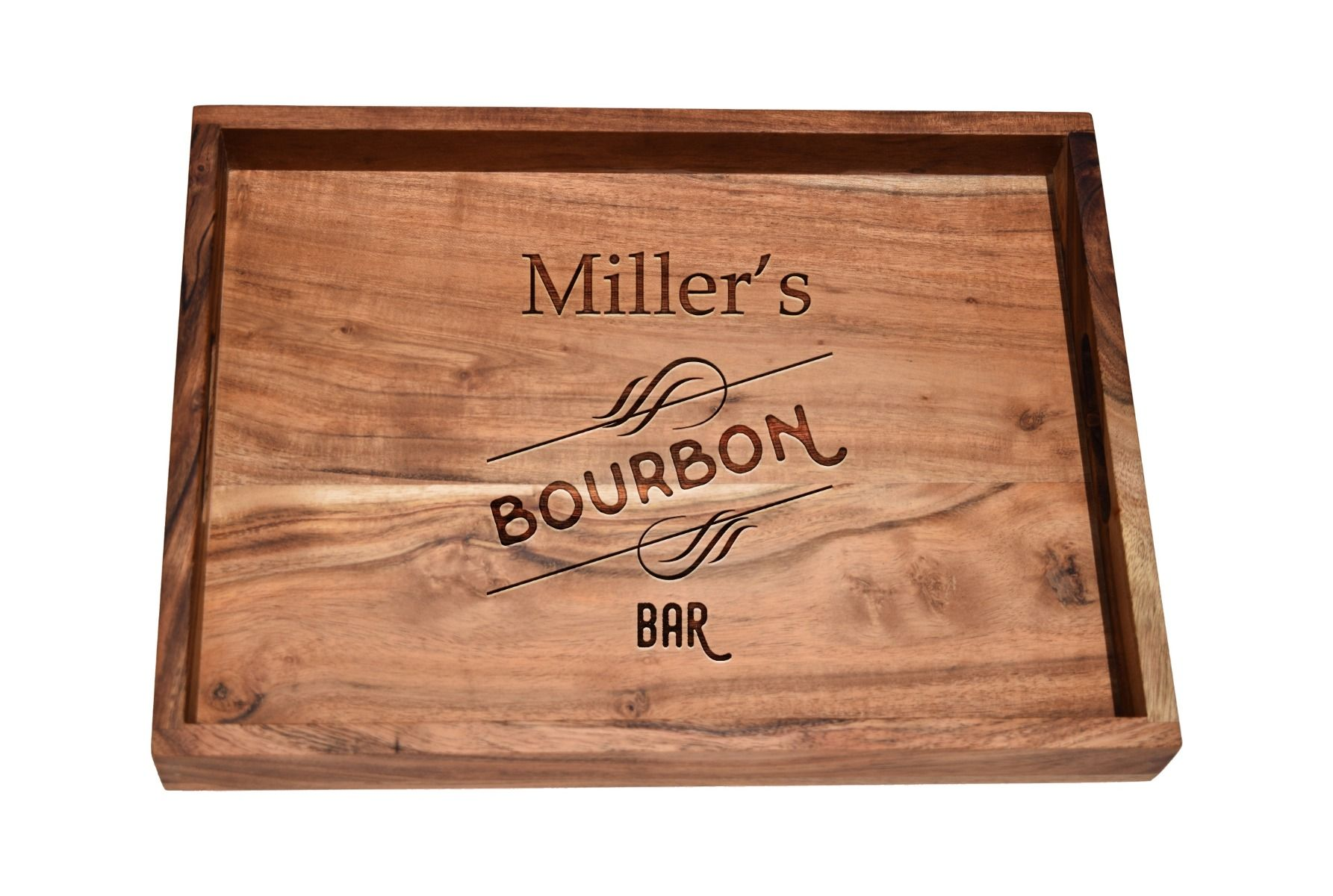 Bourbon bar tray, a personalized wooden serving tray