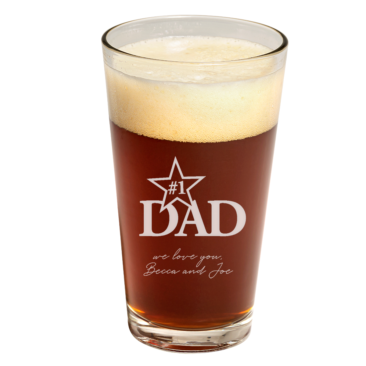 Father's Day #1 Dad Pint Glass