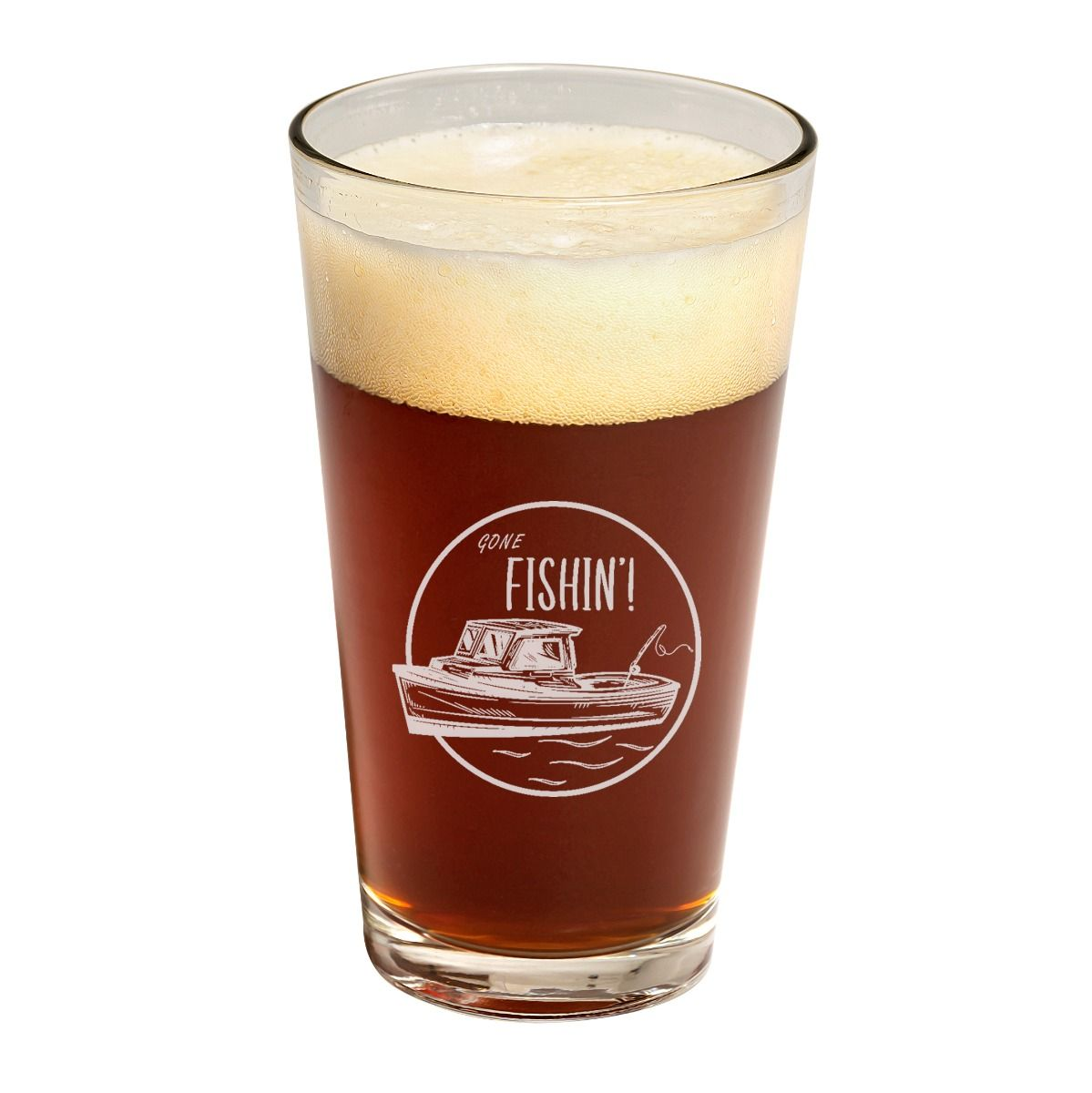 Boat Fishin' Father's Day Pint Glass