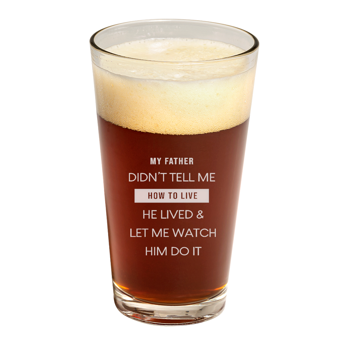 father's day heartfelt quote pint glass