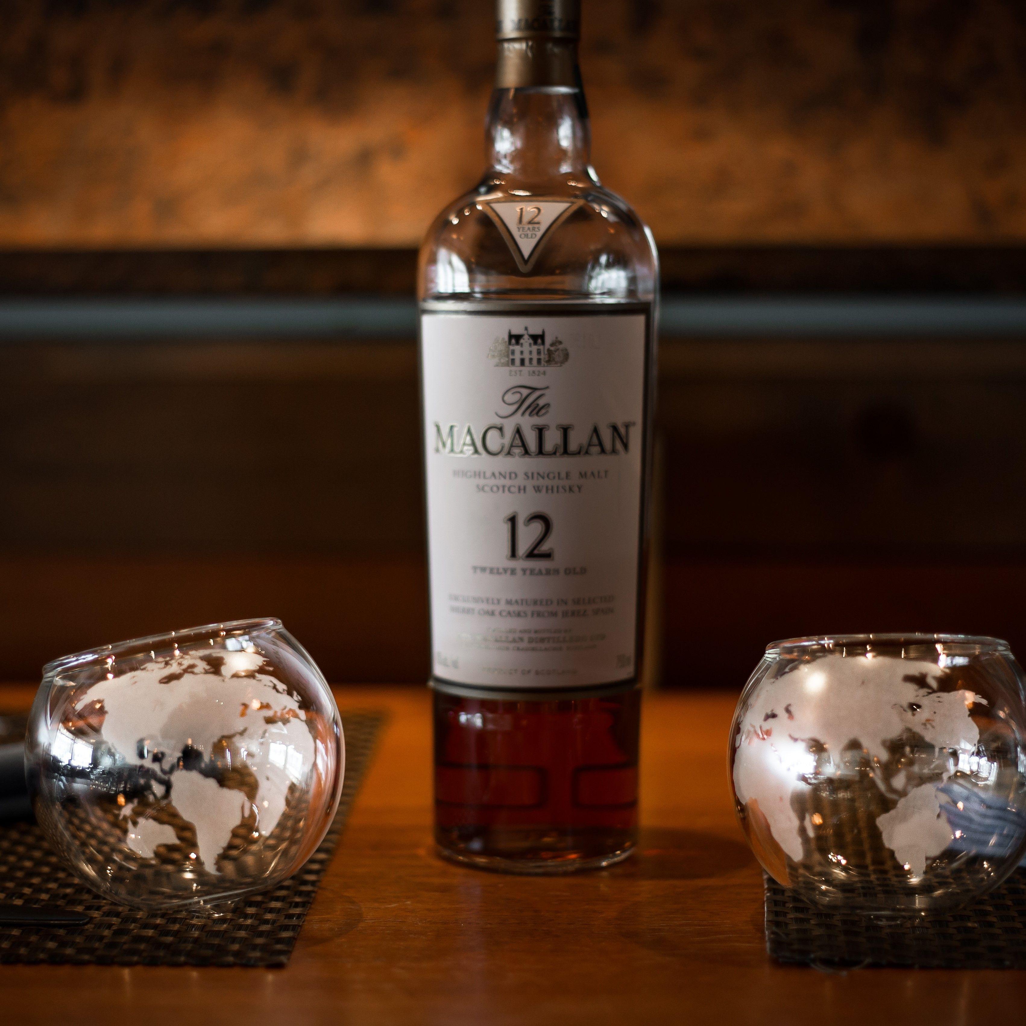 Spinning Globe Whiskey Glass set