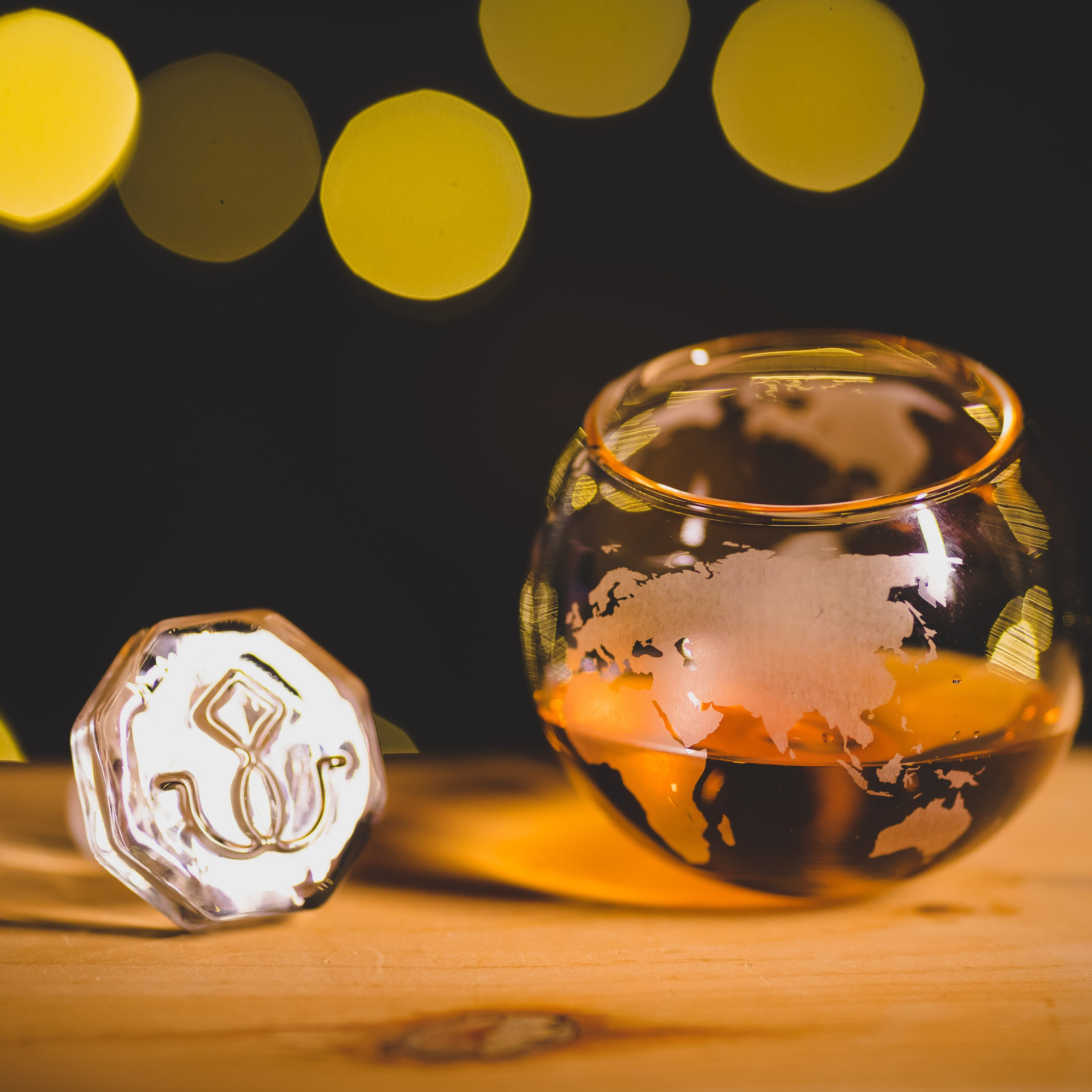 Spinning Globe Whiskey Old Fashioned Glass