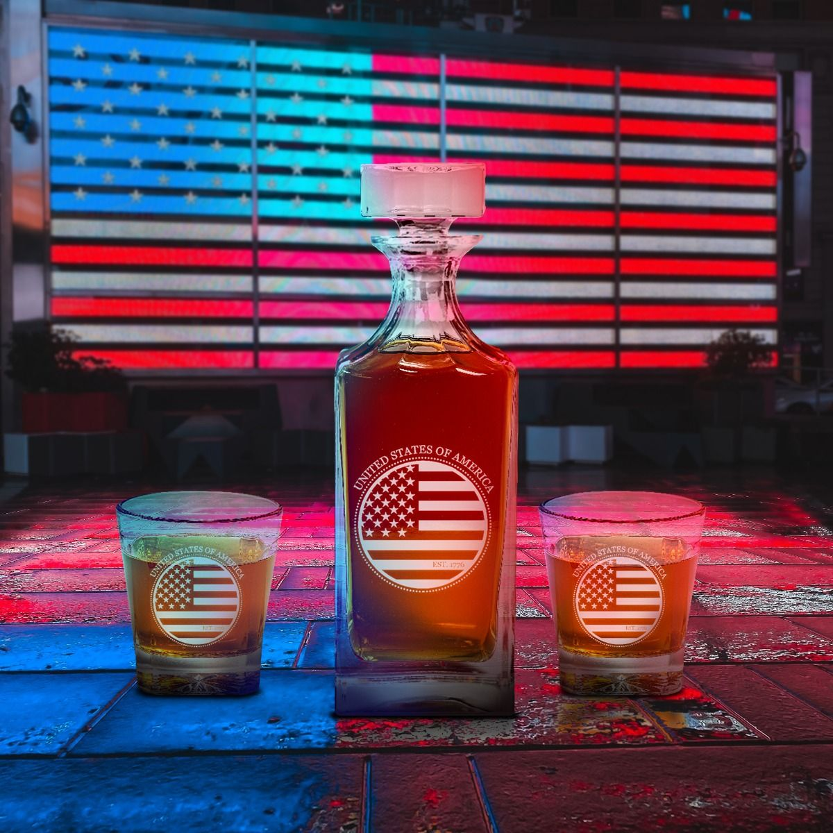 Pretty Image of American Flag Design Engraved Decanter set