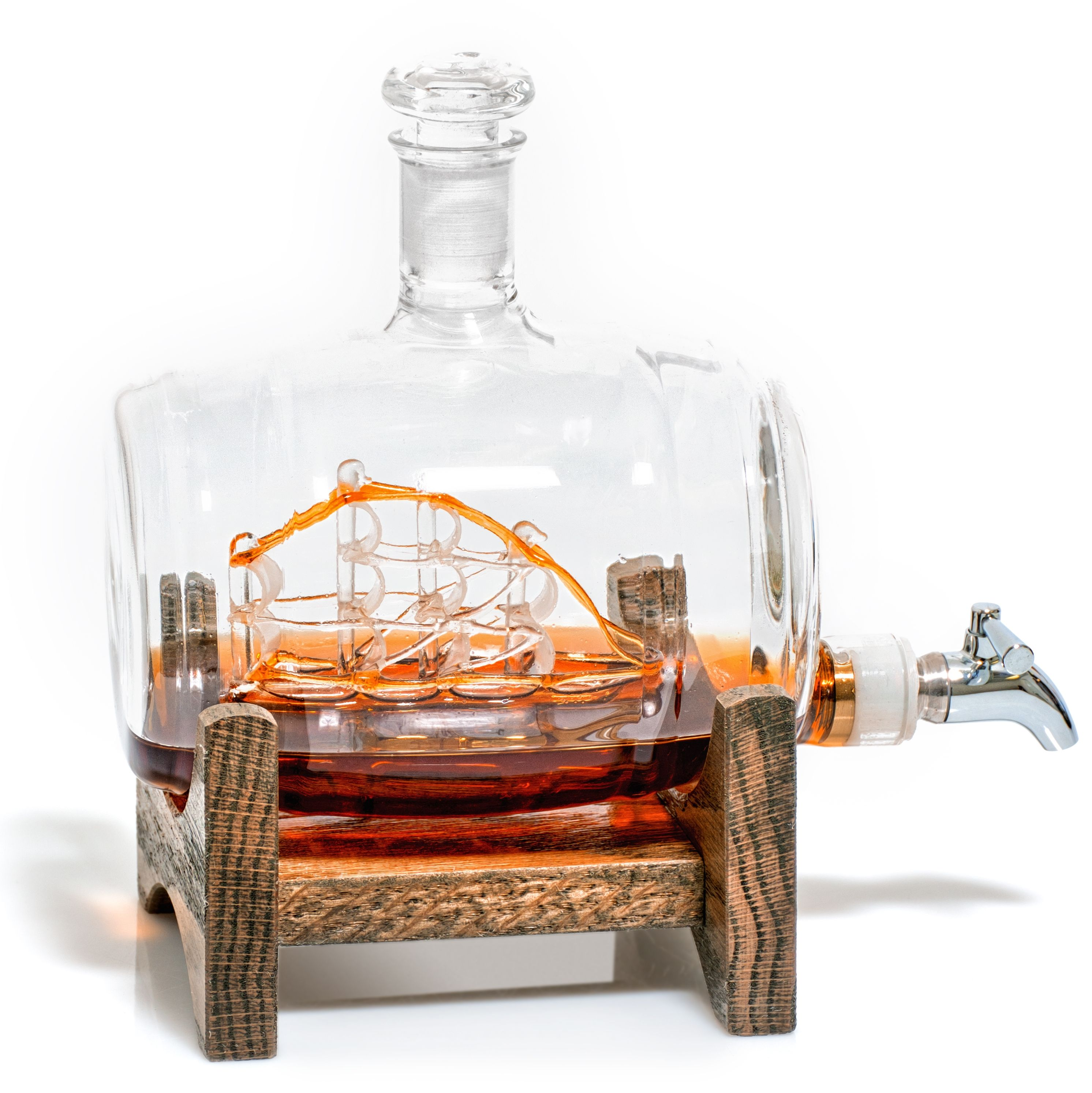 Barrel Shaped Liquor/Wine Decanter with Ship Inside