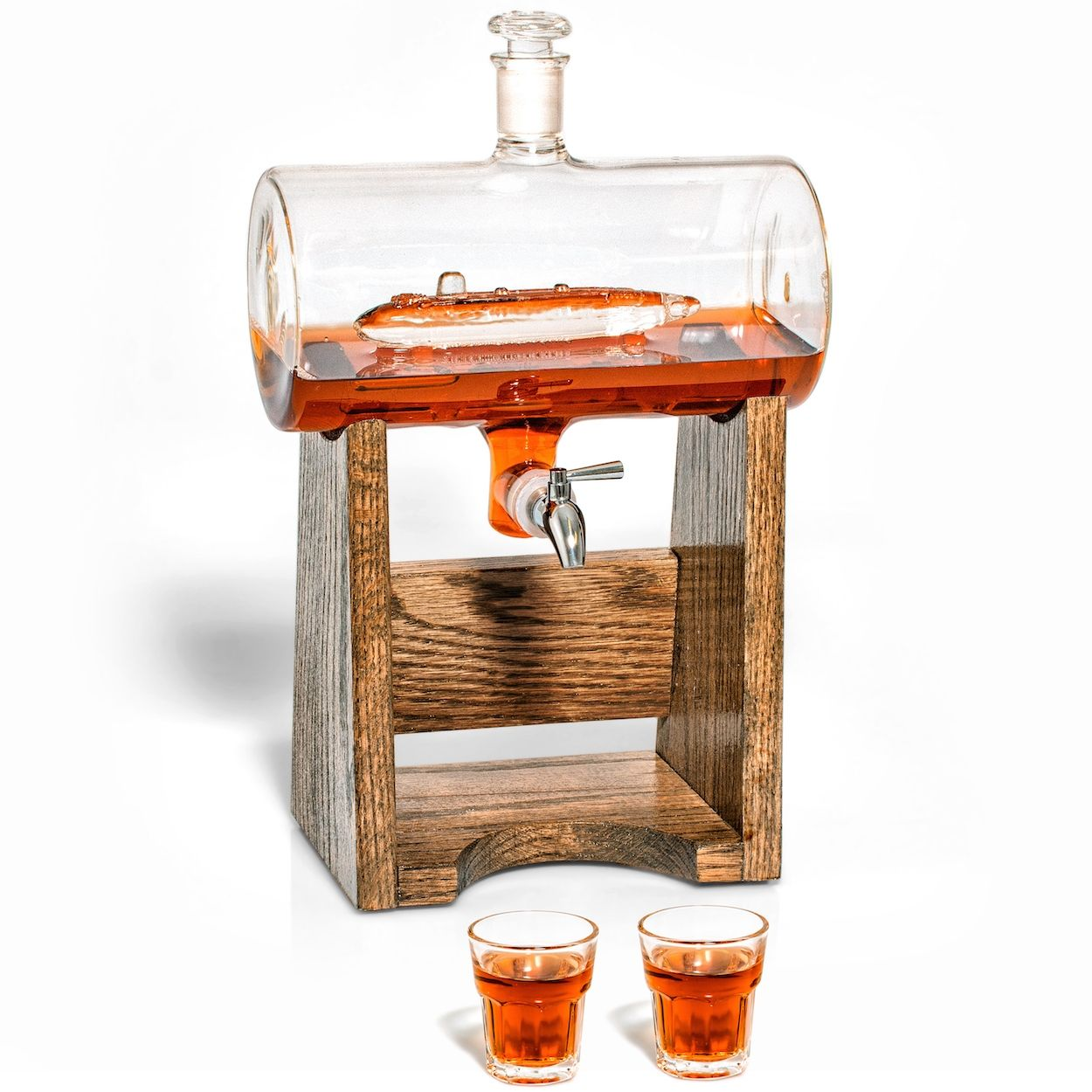 Submarine Decanter with Spigot and Shot Glasses