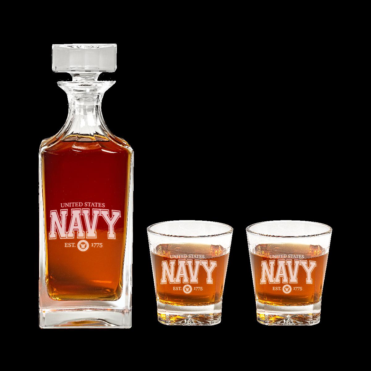 navy decanter set