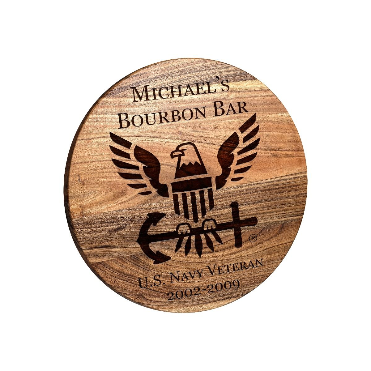 Navy Bar Sign - Round