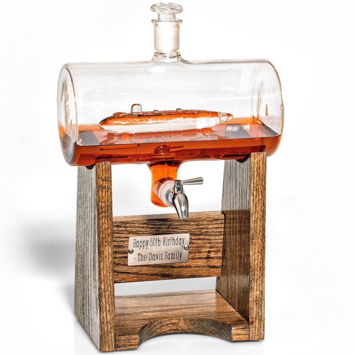 Submarine Decanter - Engraved 1150 ml glass liquor/wine decanter with submarine inside