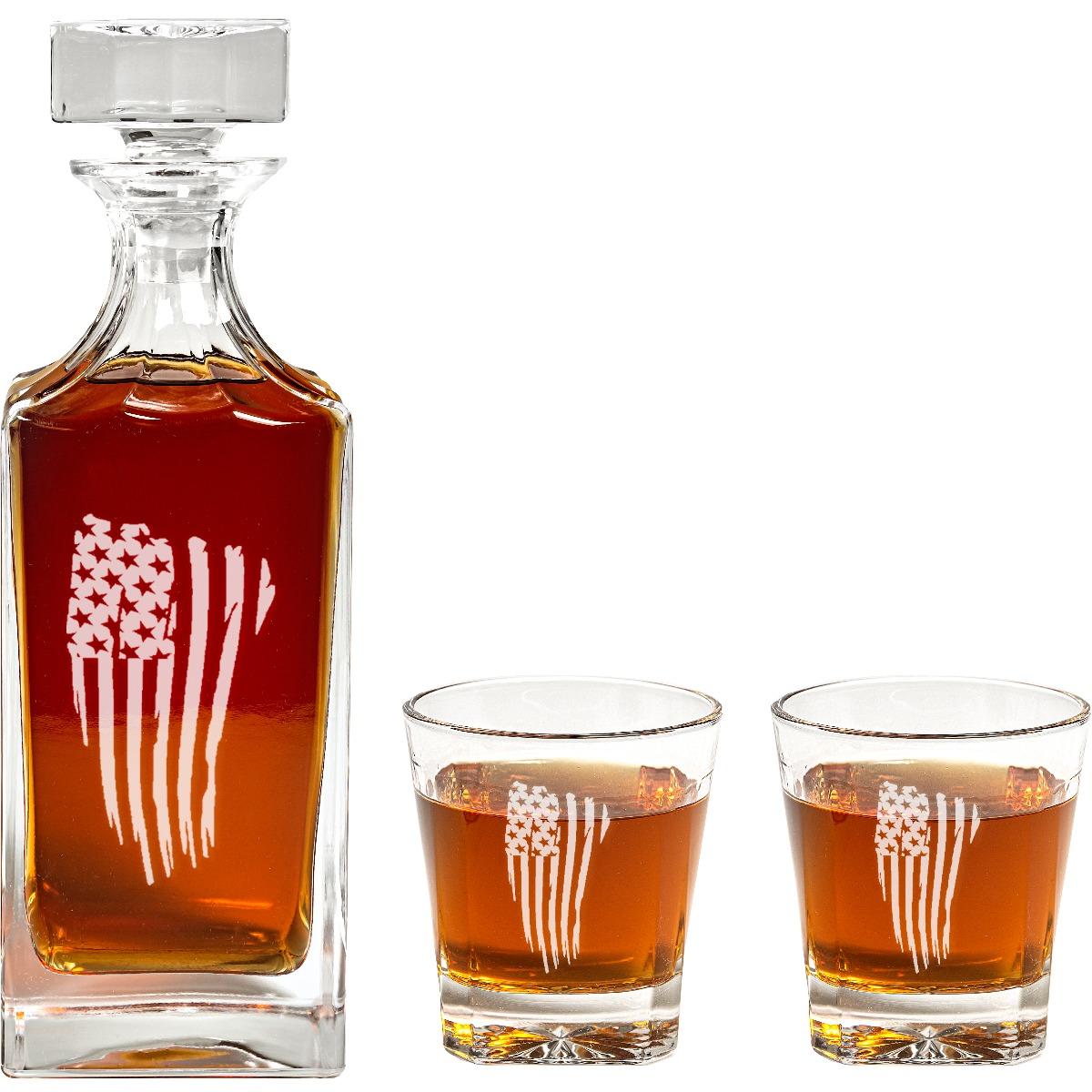 Engraved American Flag Decanter Set