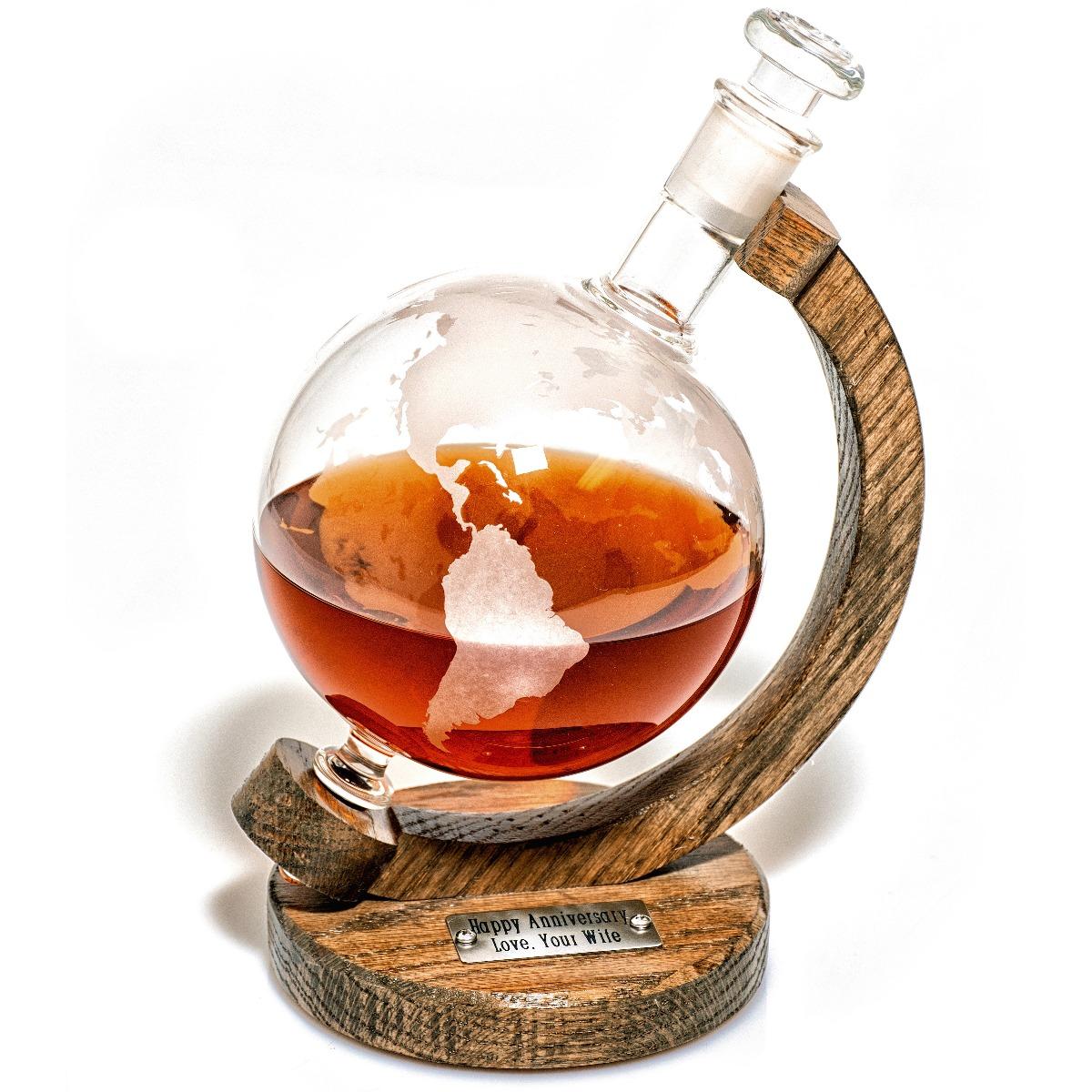 Engraved Globe Continent whiskey decanter pythagoras