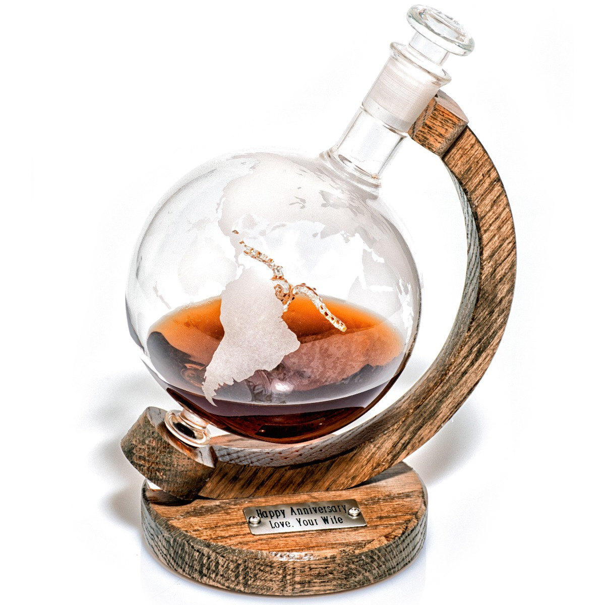 Engraved globe duck whiskey decanter
