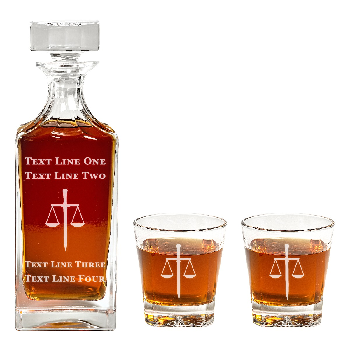 Engraved Lawyer Sword and Scales Glass Decanter Set
