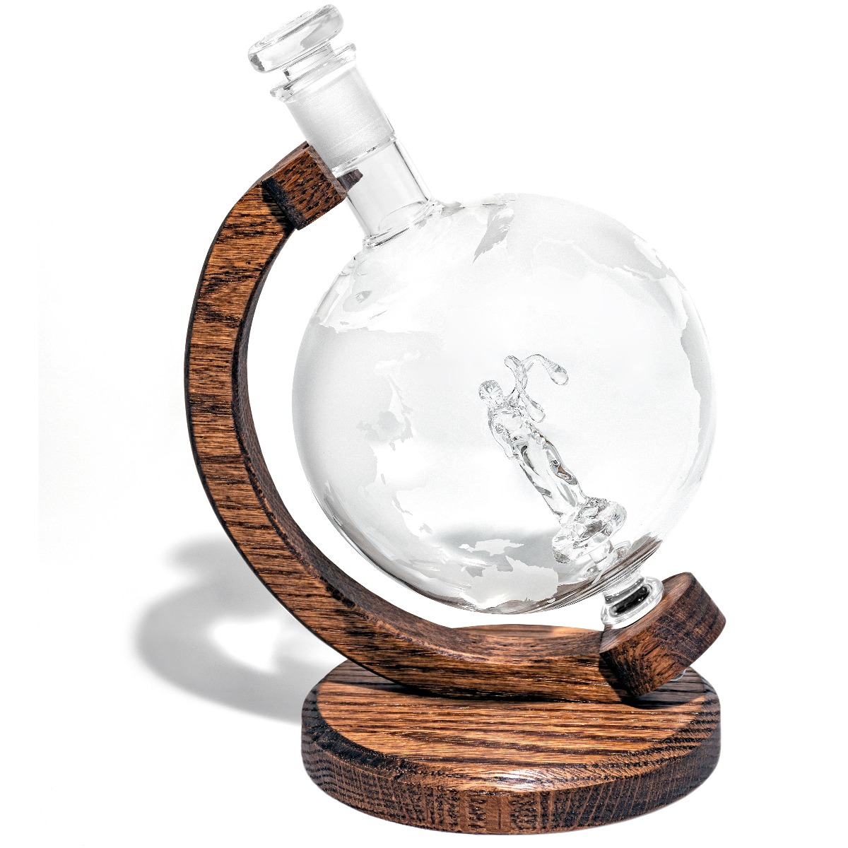 Etched Globe Glass Justia Lady Decanter