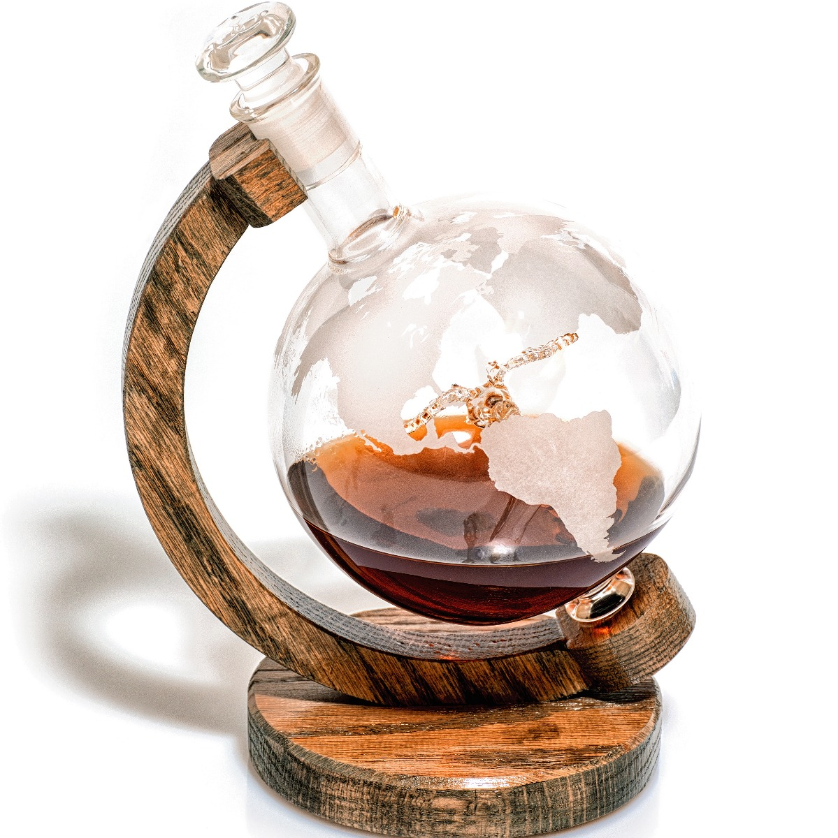 Etched globe whiskey decanter with hand blown duck inside