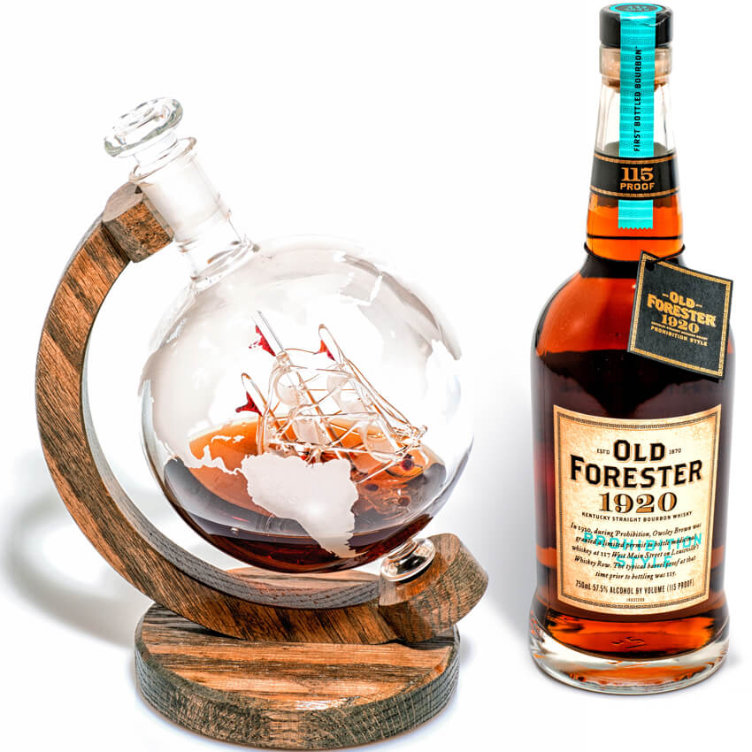 Prestige Decanters etched globe whiskey decanter with ship inside
