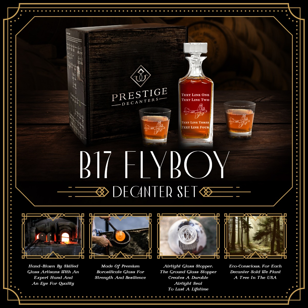 Features of B17 Flyboy Decanter Set