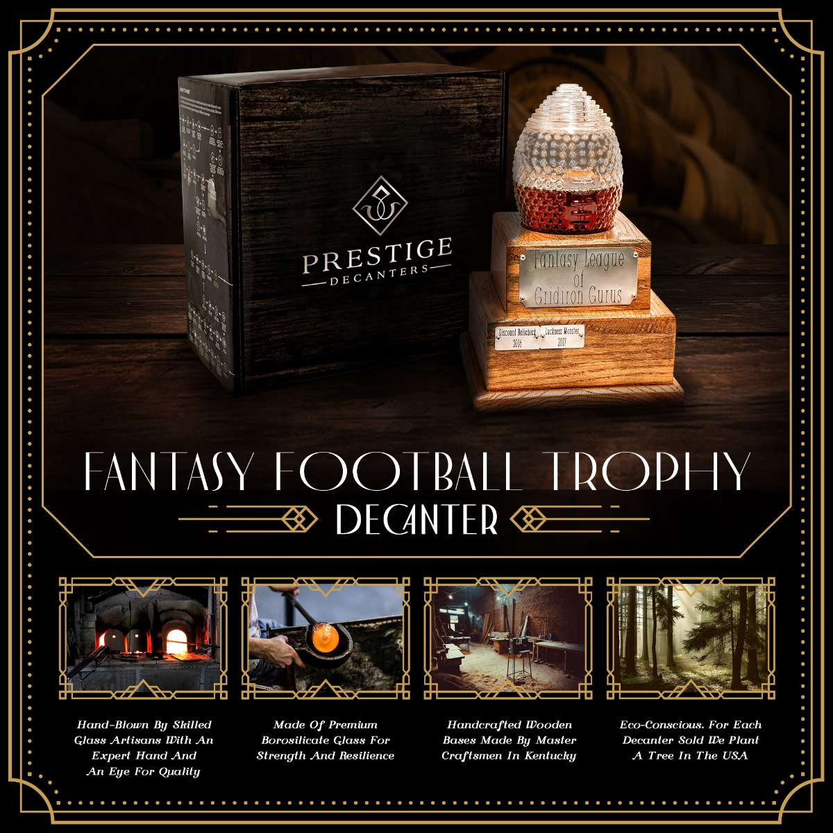 Features of Fantasy Football Trophy decanter