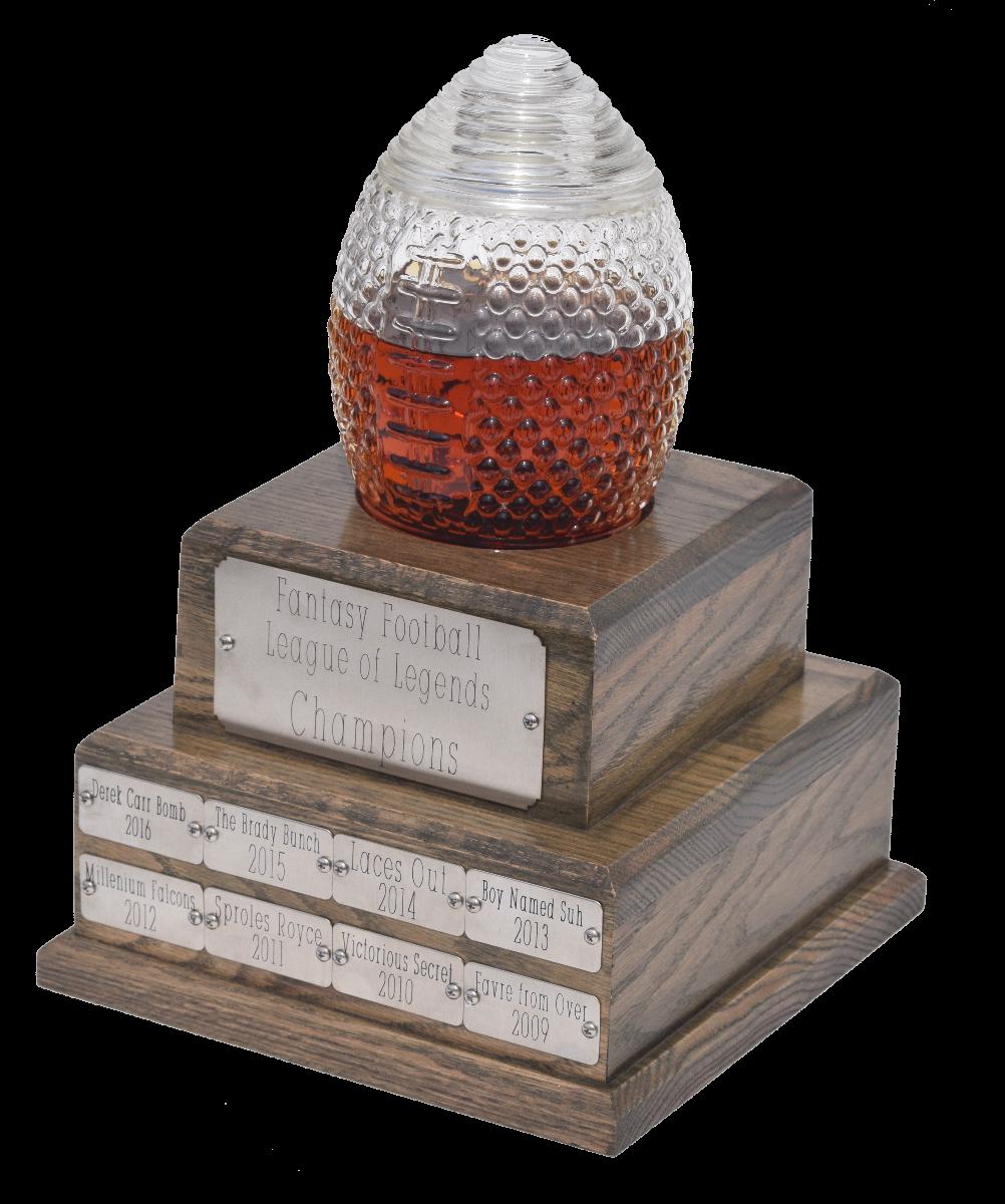 Glass Football Trophy decanter