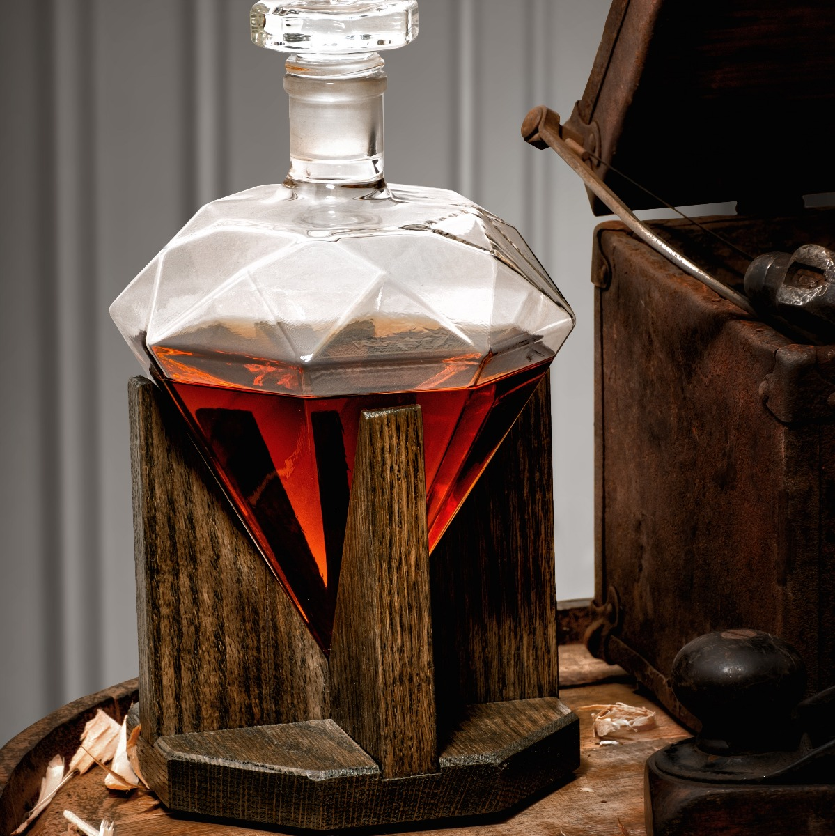 Hand blown, handmade diamond liquor decanter
