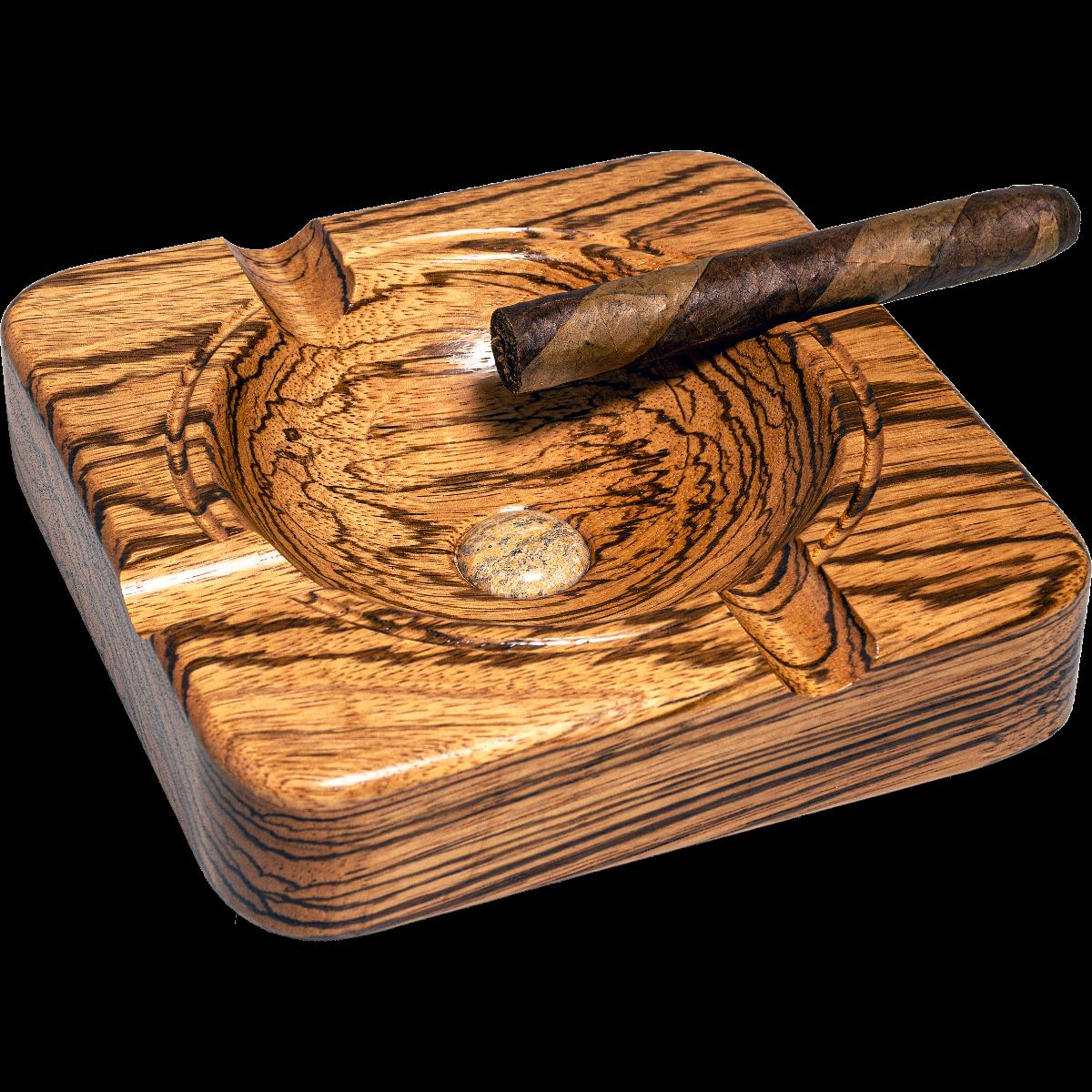 Decor Carbon Fiber Patterned Wooden Cigar Ashtray with 4-Cigar Rests Gift