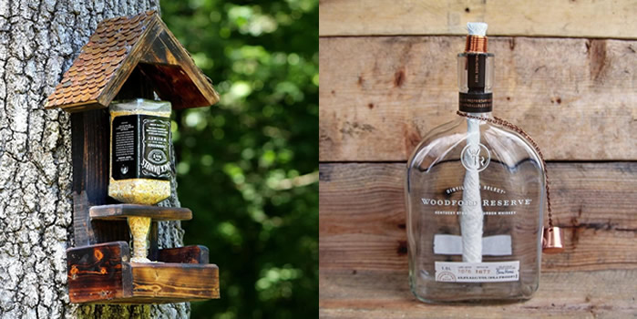 DIY Wine Bottle / Liquor Bottle - Bird feeder and Tiki Torch